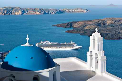 Princess Cruises' Emerald Princess in Santorini, Greece