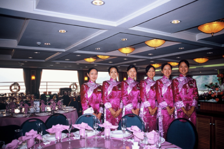 Victoria Cruises' Dining Room Staff in Traditional Chinese Dress
